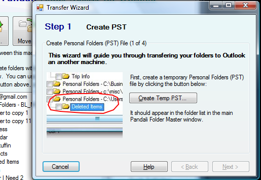 Screenshot - transfer wizard